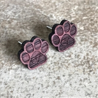 Paw Print Earrings made with organic Purpleheart exotic Hardwood