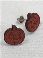 Pumpkin Earrings made with organic Padauk exotic Hardwood