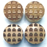 "Custom Handmade LIMITED EDITION ""Inverted 8-Bit Ghosts"" & ""8-Bit Ghosts"" Organic Wood Plugs - ONLY 50 will be made"