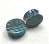 Pair of Striped Blue Concave Agate Stone Plugs