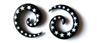 Handmade Black and White Star Striped Spiral Plugs