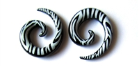 Handmade Black and White Zebra Striped Spiral Plugs
