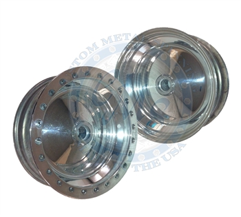 Made in USA spindle mount beadlock wheels. These CMS wheels use a heavy duty link pin sealed bearing center hubs for added strength. The bead lock ring is made in USA by Champion. These wheels are made with heat treated 2.0 inner and 3.5 inch outer spun h