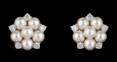Pearl and Crystal Cluster Earrings