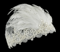 Retro Bridal Cap with Feathers