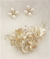 Gold FWP Hair Comb and FWP Earrings