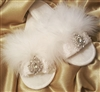 Handmade - Maribou Bridal Slippers with Crystal