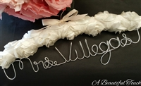 Personalized Ivory Rosette Fabric Hanger