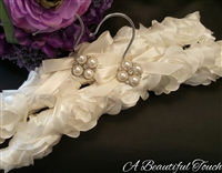 Ivory Rosette Fabric with Pearl & Crystal Pin
