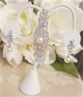 CZ and Pearl Bracelet and Earrings