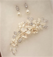 Floral Hair Clip and FWP and Crystal Earrings