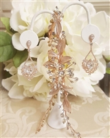 Rose Gold Hair Vine and Chandelier Earrings