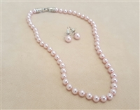 Pink Glass Bead Necklace Set