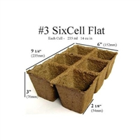 COW POTS 100% BIODEGRADABLE  3 INCH SQUARE, 6 CELL TRAY, EACH