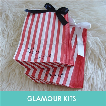 LOVE IS SWEET RED STRIPED RETRO CANDY BAGS