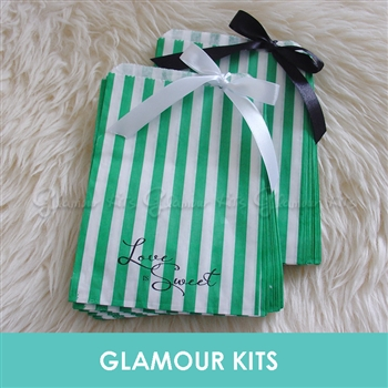 LOVE IS SWEET GREEN STRIPED RETRO CANDY BAGS