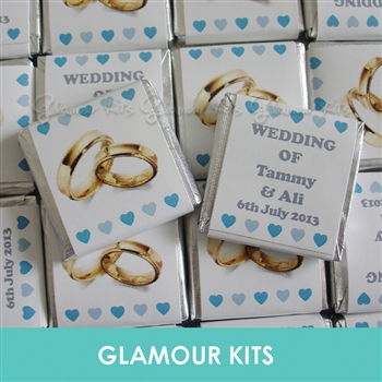 50 PERSONALISED MINT CHOCOLATE FAVOURS GOLD RINGS