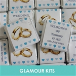 100 PERSONALISED MINT CHOCOLATE FAVOURS GOLD RINGS