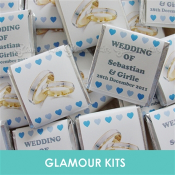 50 PERSONALISED MINT CHOCOLATE FAVOURS SILVER GOLD RINGS