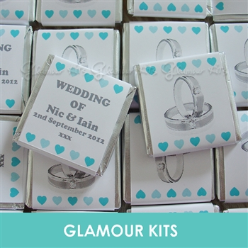 100 PERSONALISED MINT CHOCOLATE FAVOURS DIAMOND RINGS