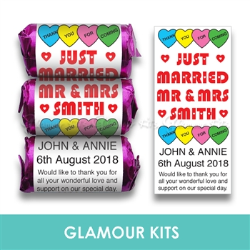 100 PERSONALISED MINI LOVE HEART SWEETS-MR & MRS HEART