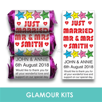 100 PERSONALISED MINI LOVE HEART SWEETS-MR & MRS STAR