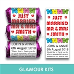 100 PERSONALISED MINI LOVE HEART SWEETS-MR & MRS BUTTERFLY
