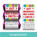 100 PERSONALISED MINI LOVE HEART SWEETS-MR & MRS FLOWER