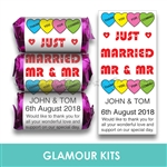100 ROLLS PERSONALISED MINI LOVE HEART SWEETS- CIVIL PARTNERSHIP MR & MR
