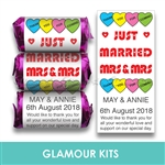 100 ROLLS PERSONALISED MINI LOVE HEART SWEETS- CIVIL PARTNERSHIP MRS & MRS