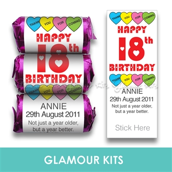 100 ROLLS PERSONALISED MINI LOVE HEART SWEETS- BIRTHDAY