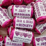 100 ROLLS PERSONALISED MINI LOVE HEART SWEETS- PURPLE