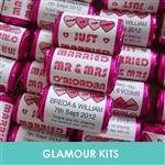 100 ROLLS PERSONALISED MINI LOVE HEART SWEETS- HOT PINK