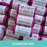 100 ROLLS PERSONALISED MINI LOVE HEART SWEETS- BABY PINK