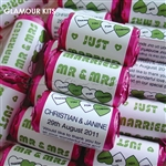 100 ROLLS PERSONALISED MINI LOVE HEART SWEETS- GREEN