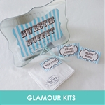 PERSONALISED RETRO STRIPED SWEETIE BUFFET-SIGN CARDS BAGS