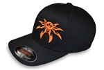 Spyder Logo FlexFit Ball Cap - Black/Orange - Small/Medium