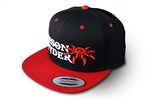 Poison Spyder Logo Flatbill Snap-Back Hat - Black & Red