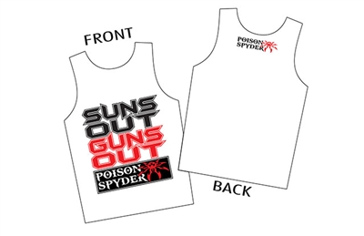 """Suns Out Guns Out"" White Tank Top - Men - Medium"