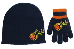 Capelli New York Flaming Skull Skull Cap & Magic Glove Boys Knit 2 Pc Set