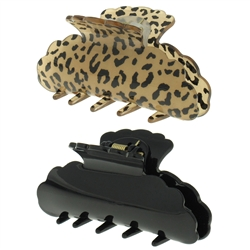 Capelli New York 2/ on Crd Mix Leopard Print and Solid Claw Clip