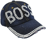 "Capelli New York Ladies Distressed Denim Baseball Hat with ""Boss"" Rhinestone Detail"