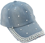 Capelli New York Ladies Distressed Denim Baseball Hat with Scattered Pearl and Rhinestone Detail