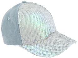 Capelli New York Ladies Solid Denim Baseball Hat with Reversible Sequins Panel