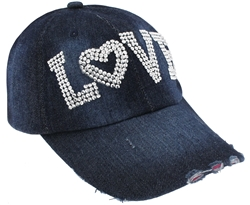 "Capelli New York Ladies Distressed Denim Baseball Hat with ""Love"" Rhinestone Detail"