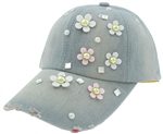 Capelli New York Ladies Distressed Denim Baseball Hat with Daisy, Pearl and Gem Detail