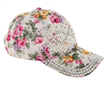 Capelli New York Ladies Rose Printed Twill Baseball Hat with Lace Bling