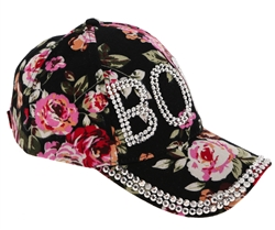 "Capelli New York Ladies Wild Floral Print with ""Boss"" Bling Baseball Hat"