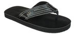 Capelli New York Pu Thong On Distressed Pu Sock Boys Fashion Flip Flop Black Combo 12/13