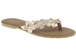Capelli New York Ladies Fashion Flip Flop With Studded Flower Thong